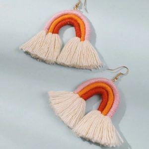 Coral Rainbow Tassel Dangle Earrings